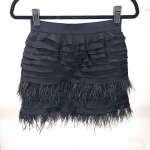 BCBG Mariah Tulle and Feather Tiered Ruffles Skirt